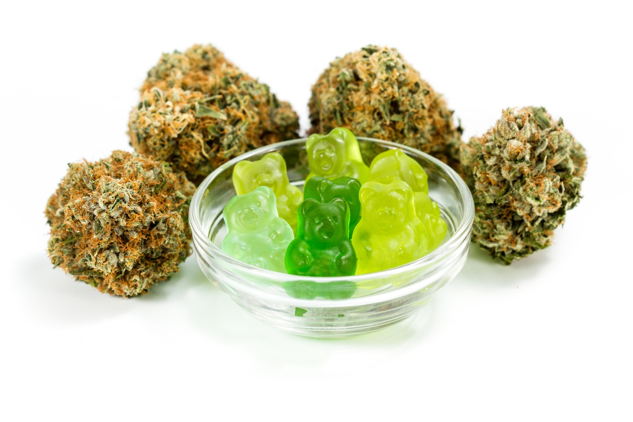 clear bowl filled with gummy bears and marijuana buds around isolated on a white background. CBD gummies