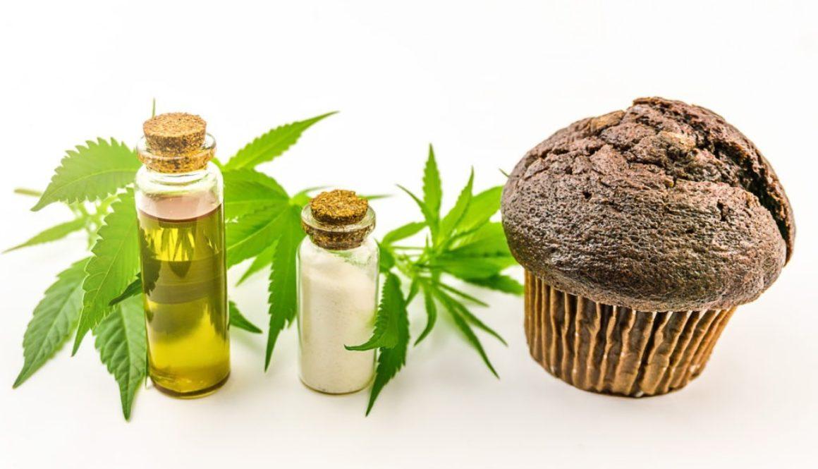 cbd isolate infused muffin next to marijuana plants