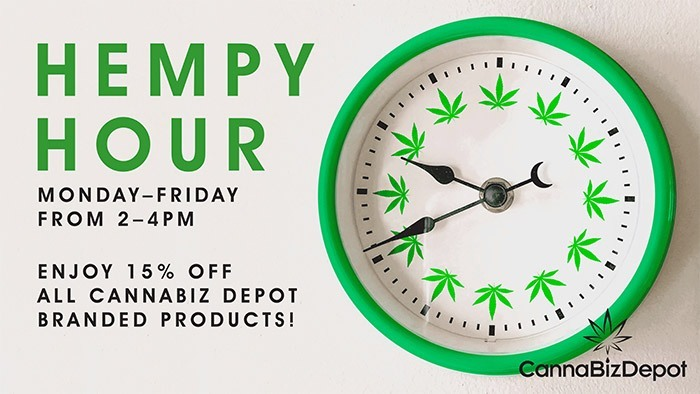 CannaBiz Depot - Hempy Hour - Monday-Friday 15% Discount on ALL CannaBiz Depot products.